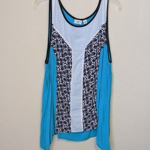 Multi colored sleeveless dressy tank top